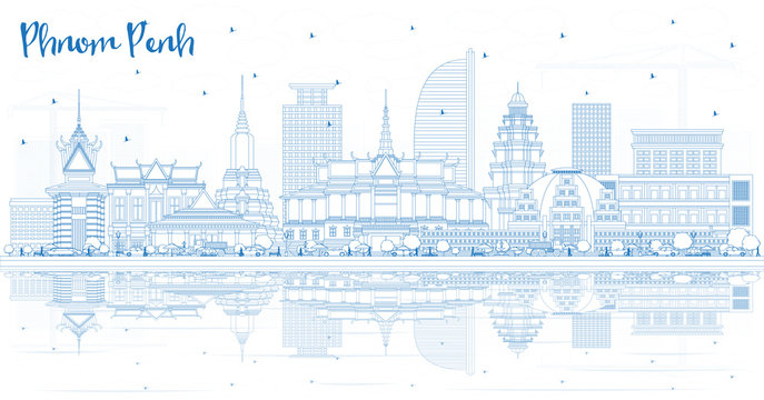 Outline Phnom Penh Cambodia City Skyline with Blue Buildings and Reflections.