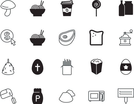 food vector icon set such as: dessert, snack, aroma, chop, ecology, appliance, cow, composition, summer, bar, cup, raw, milling, fast, eating, champignon, round, port, new, barbecue, grilled, rubbish