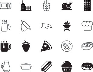 food vector icon set such as: new, agriculture, serve, pitcher, activity, nutrition, cylinder, growth, person, donuts, cacao, muffin, protective, chicken, wooden, spoon, jar, french, trip, steel