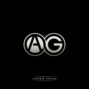 AG initial letter linked circle capital monogram logo modern template silver color version