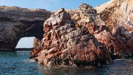 Sea lions relaxing on rocks of Ballestas Islands, Paracas National Reserve, Pisco region, Peru