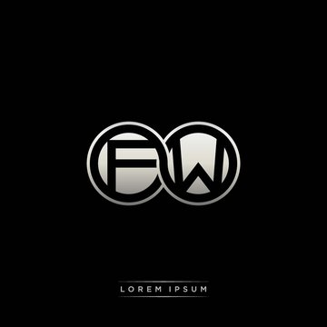 FW initial letter linked circle capital monogram logo modern template silver color version