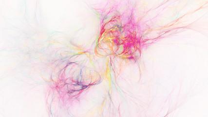Abstract transparent pink and golden crystal shapes. Fantasy light background. Digital fractal art. 3d rendering.