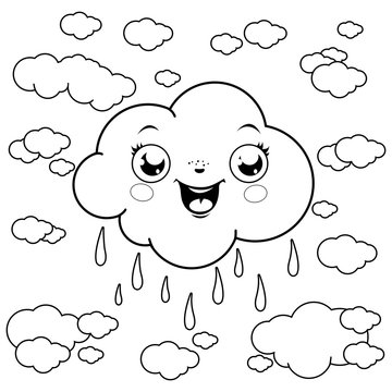 Illustration of clouds raining at the sky. Vector black and white coloring page