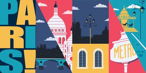 Paris, France vector banner, illustration. City skyline, historical buildings in modern flat design