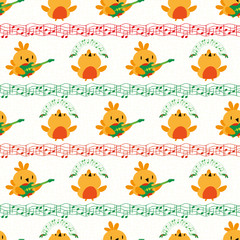 Funky cartoon robins playing guitar and dancing between lines of musical notes. Seamless vector pattern in gold, red and green on textured white background. Great for Christmas products, giftrwap