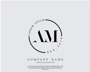 Initial letter AM beauty handwriting logo vector