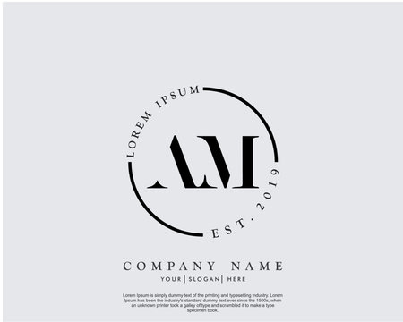 Initial letter AM beauty handwriting logo vector