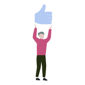 Man holds a Like sign. Digital marketin