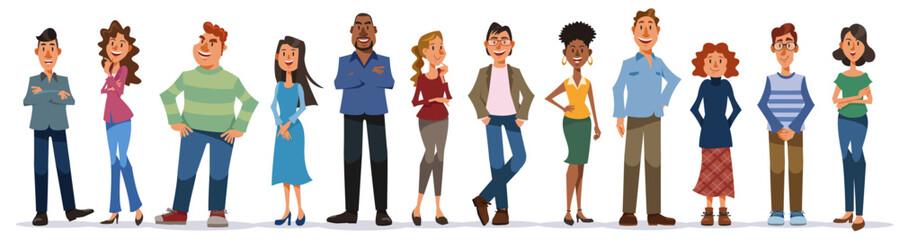 Fototapeta 白い背景に立つ多様な人々のセット。笑顔の男性と女性、異なる国籍。フラットな漫画スタイルのカラフルなベクターイラストレーション。 obraz