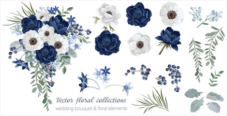 Vector floral set with leaves and flowers. Elements for your compositions, greeting cards or wedding invitations. Anemones Fototapete