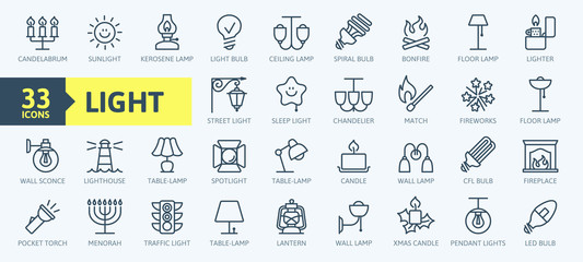 Lights, bulb, lamp web icon set - minimal thin line web icon set. Outline icons collection. Simple vector illustration