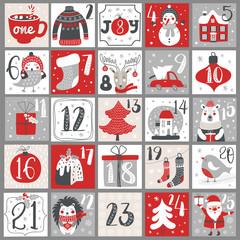 Fototapeta Christmas Advent calendar with hand drawn elements. Xmas Poster. Vector obraz