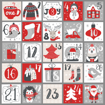 Christmas Advent calendar with hand drawn elements. Xmas Poster. Vector