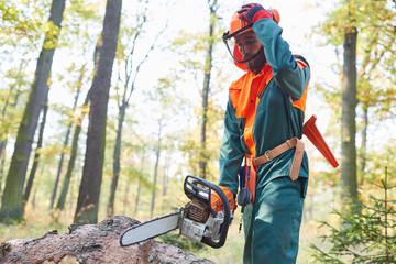 Holzfäller in Schutzausrüstung mit der Motorsäge