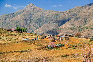 A Basotho vilage in the Highlands of Maluti Mountains