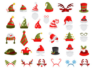 Christmas hat set. Collection of Santa Claus decoration
