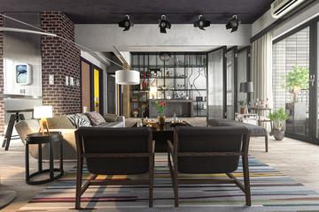 Großes Wohnzimmer mit angrenzender Küche
