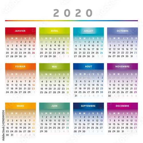 Calendrier 1er Trimestre 2020.Calendrier 2020 Couleurs Arc En Ciel 4 Colonnes