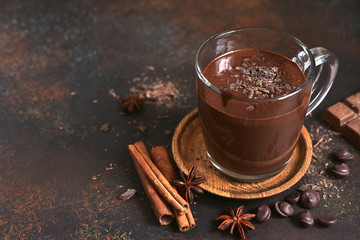 Delicious homemade hot chocolate with cinnamon.
