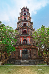 The Pagoda of the Celestial Lady (Phuoc Duyen Thien Mu Pagode) in Hue, Vietnam