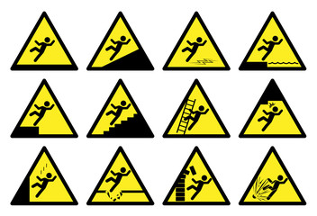 Set of safety signs. Collection of warning and caution signs. Vector illustration. Signs of danger and alerts.