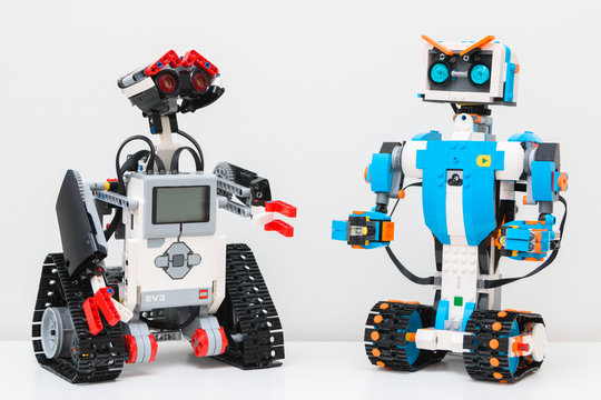 """October, 2017. Minsk, Belarus. STEM education class. Robotics. The Lego Boost robot.  Science, technology, engineering, mathematics. The toy won """"the Toy of the Year Award"""". Best gift for child."""
