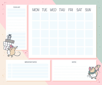 Monthly calendar planner page design template for children. Cute hand drawn little mouse character. Flat lay, mock up. Pastel colors. Back to school - vector illustration.