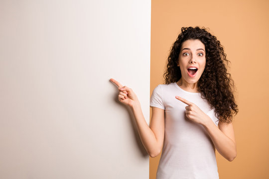 Photo of amazing excited lady indicating finger on empty discount banner big white placard wear white casual clothes isolated beige pastel color background