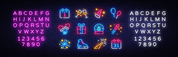 Big collectin New Year neon signs. Happy New Year Neon Icons Vector. Merry Christmas icons lights design template, modern trend design, night light signboard. Vector. Editing text neon sign