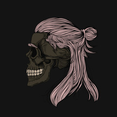 Skull with long hair wrapped in a bun. Stylish men's hairstyle. Picture for halloween, barbershop and clothes.