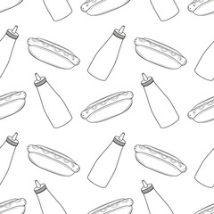 Seamless pattern with hot dogs and bottles of mustard and ketchup. Restaurant illustration. Fast food illustration. White background. Menu design. Vector illustration. Black and white.