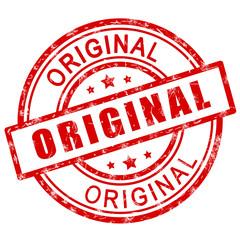 Original stamp. Red original stamp sign icon.