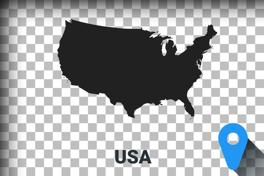 Map of United States, black map on a transparent background. alpha channel transparency simulation in png. vector