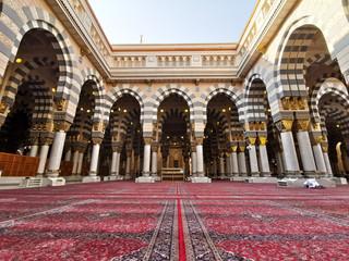 Medina, Saudi Arabia - March 22, 2018 : Interior view of Nabawi Mosque (Prophet Mosque) building in Medina. Selective focus