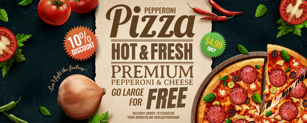 Pepperoni cheese pizza ads
