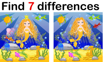 Find differences, game for children, mermaid underwater in cartoon style, education game for kids, preschool worksheet activity, task for the development of logical thinking.