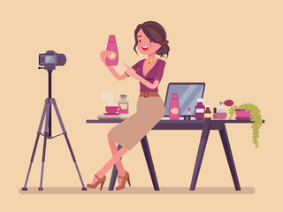 Beauty blogger streaming. Woman reviewing cosmetics content for personal blog, website, talking about hair, makeup, skincare, fashion, posting marketing videos. Vector flat style cartoon illustration