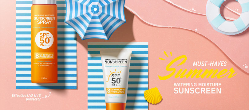 Flat lay sunscreen banner ads
