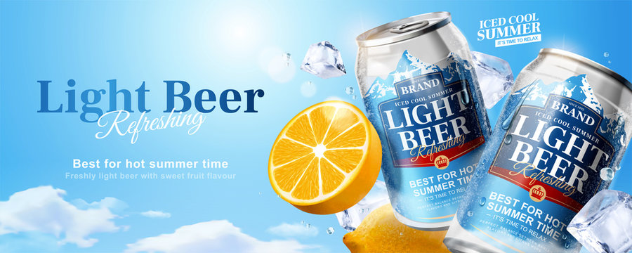 Iced cool light beer banner ads