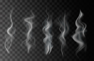 Smoke isolated on transparent background. Vector  fog, vapor set. Wall mural