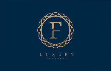 luxury letter F logo alphabet for company logo icon design
