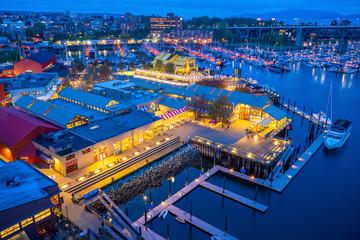 Grandville Island Public Market , View from Granville Street Bridge at night