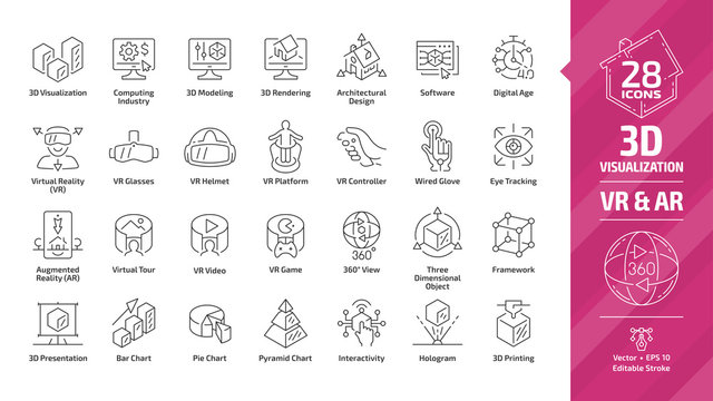 3D visualization outline icon set with virtual & augmented reality (VR & AR) visual technology editable stroke line symbols: architectural design, software, digital age, presentation and chart graph.