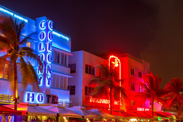View along Ocean Drive along South Beach Miami in the historic Art Deco District