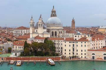 Aerial view of Basilica della Salute, Venice, Italy