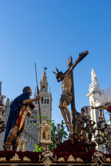 Fototapete - Semana santa en Sevilla, Cristo del Desamparo y Abandono de la hermandad del cerro del águila