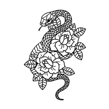 Tattoo with rose and snake with sacred geometry frame. Roses Isolated vector illustration.