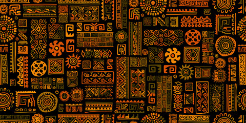 Obraz Ethnic handmade ornament, seamless pattern - fototapety do salonu