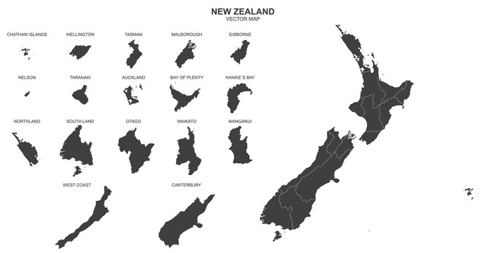 political map of New Zealand isolated on white background